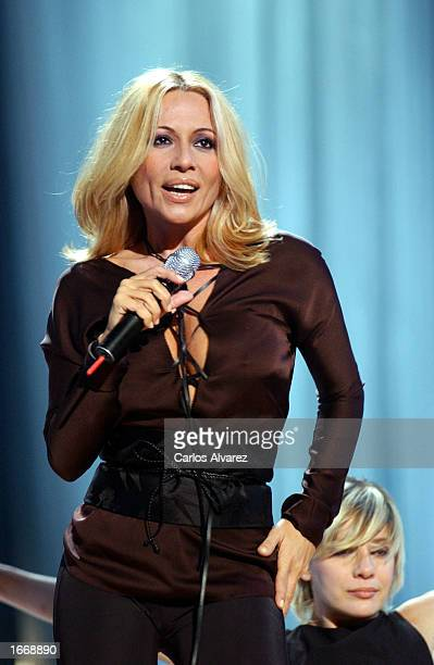 Spanish singer Marta Sanchez performs on stage at the 'UPA Show A3 Television' gala December 2 2002 in Madrid Spain
