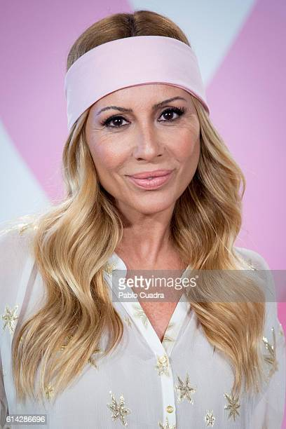 Spanish singer Marta Sanchez presents the 'TuApoyoCuenta' campaign against breast cancer on October 13 2016 in Madrid Spain