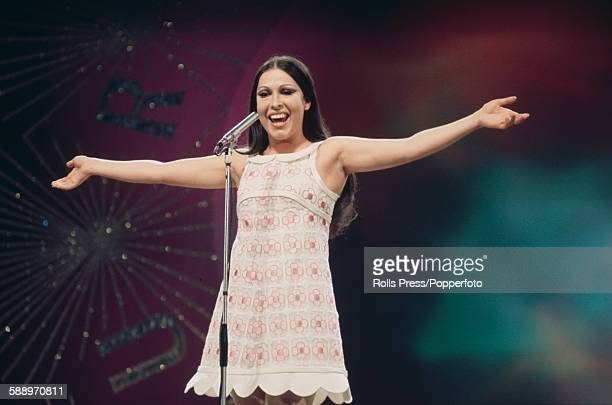 Spanish singer Massiel pictured performing on stage during the Eurovision Song Contest held at the Royal Albert Hall in London on 6th April 1968...