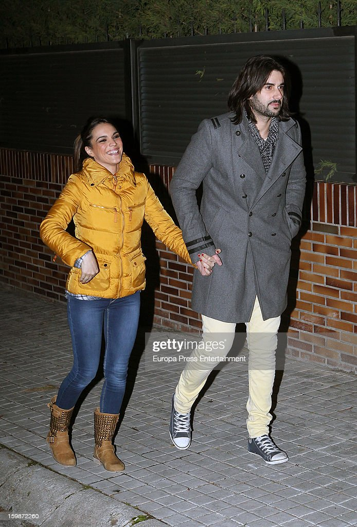 Spanish singer Melendi celebrates his 34 birthday with his wife Damaris known as 'La Dama' on January 21 2013 in Madrid Spain