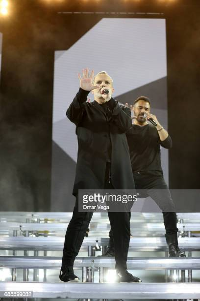 Spanish singer Miguel Bose performs during the concert as part of his 2017 'Estare' Tour in the United States at Music Hall on May 19 2017 in Dallas...