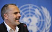Spanish singer Miguel Bose smiles during a press conference on the sideline of a commemoration of the international day of peace on September 21 2011...