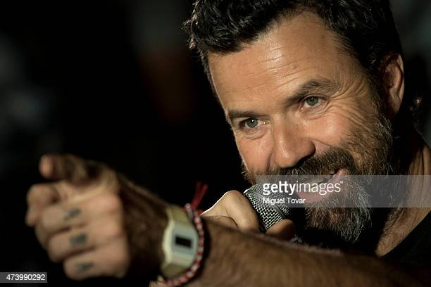 Spanish singer Pau DonŽes vocalist of Spanish band Jarabe de Palo speaks during a press conference to promote the Americano 2015 Tour on May 19 2015...