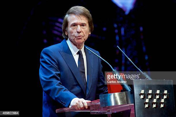 Spanish singer Raphael receives the 'International Medal of The Arts' 2013 award at the Theater Canal on December 2 2014 in Madrid Spain