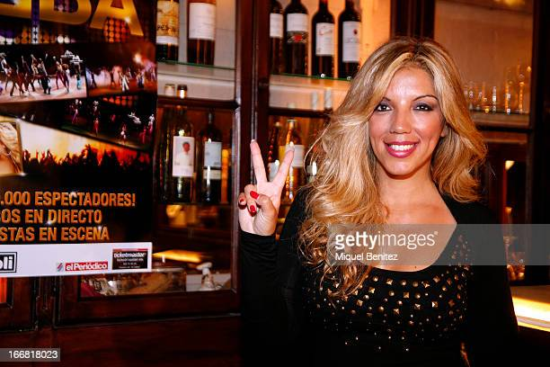 Spanish singer Rebecca attends 'The World of Abba' Presentation on April 17 2013 in Barcelona Spain