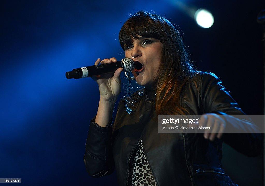 Spanish singer Rozalen performs live in Cadena Dial 'Lo Mejor De Aqui y De Alli' at Pabellon Municipal Fuente de San Luis on October 25, 2013 in Valencia, Spain.