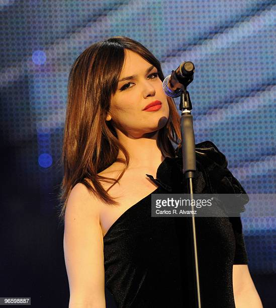 Spanish singer Sara Vega performs on stage during the ''Cadena Dial'' 2010 awards at the Tenerife Auditorium on February 11 2010 in Tenerife Spain
