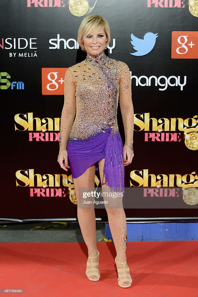 Spanish singer Soraya Arnelas attends the Shangay Pride Madrid Photocall 2014 at Vicente Calderon Stadium on July 4 2014 in Madrid Spain