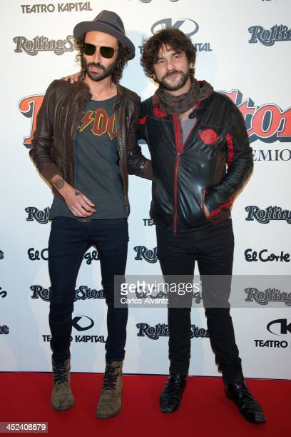 Spanish singers Leiva and Quique Gonzalez attend the Rolling Stone Magazine Awards 2013 at the Kapital Club on November 28 2013 in Madrid Spain