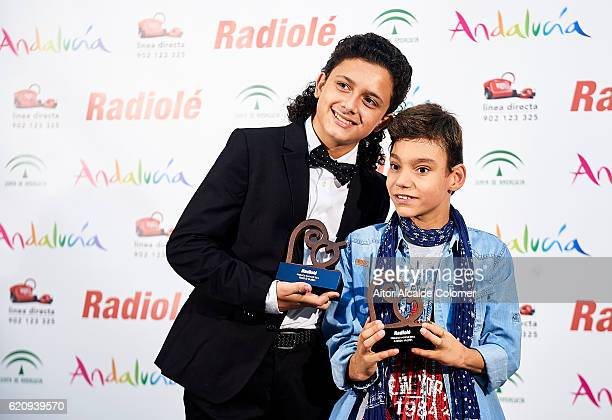 Spanish singers Raul El Balilla and Adrian Martin attends the Radiole Awards 2016 photocall at FIBES Sevilla on November 3 2016 in Seville Spain