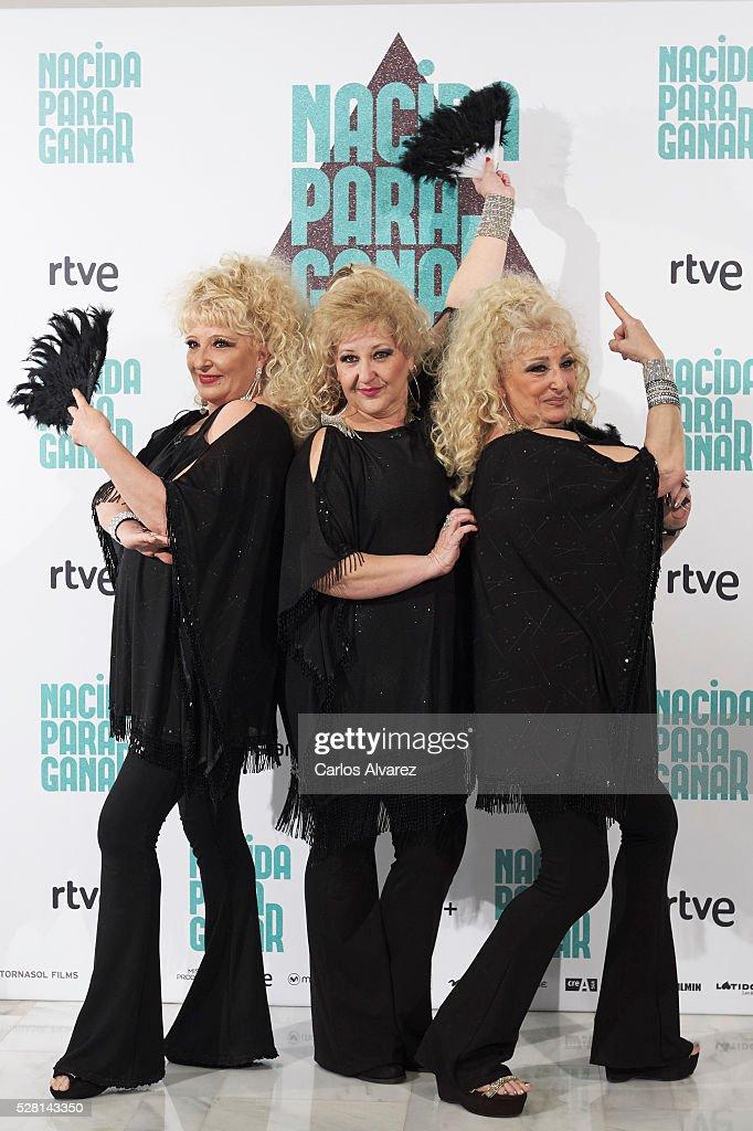 Spanish singers Vicky Bodega, Luisi Bodega and Susi Bodega 'Las Supremas de Mostoles' attend 'Nacidas Para Ganar' photocall at the Eurobuilding Hotel on May 04, 2016 in Madrid, Spain.