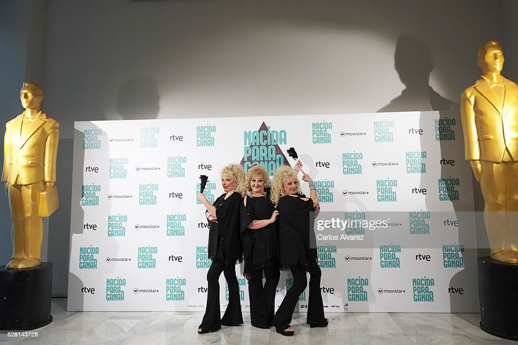 Spanish singers Vicky Bodega, Luisi Bodega and Susi Bodega 'Las Supremas de Mostoles' attend 'Nacidas Para Ganar' photocall at the Eurobuilding Hotel on May 04, 2016 in Madrid, Spain.