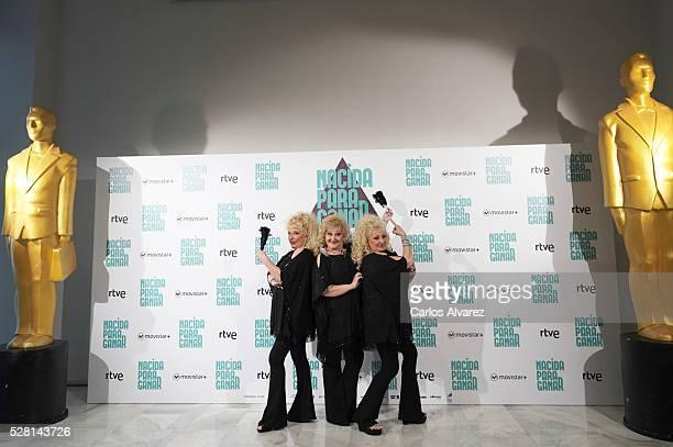 Spanish singers Vicky Bodega Luisi Bodega and Susi Bodega 'Las Supremas de Mostoles' attend 'Nacidas Para Ganar' photocall at the Eurobuilding Hotel...