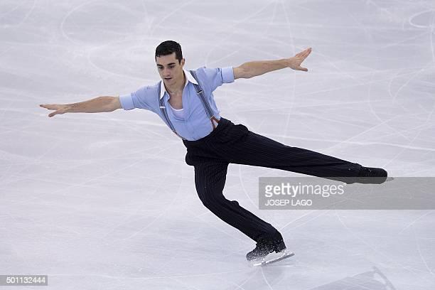 Spanish skater Javier Fernandez competes during the Men Free skating program at the ISU Grand Prix of Figure Skating Final 2015 in Barcelona on...