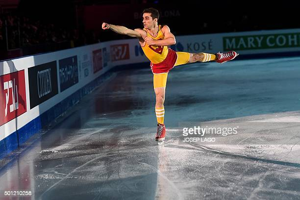 Spanish skater Javier Fernandez performs during an exhibiton gala at the ISU Grand Prix of Figure Skating Final 2015 in Barcelona on December 13 2015...