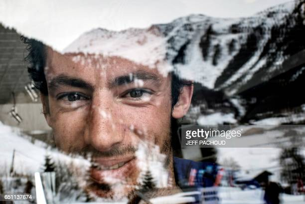 Spanish ski mountaineering and trail champion Kilian Jornet Burgada poses on March 9 2017 Areches / AFP PHOTO / JEFF PACHOUD