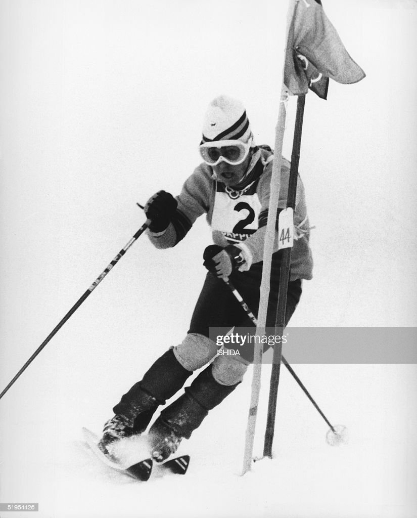 Spanish skier Francisco Fernandez Ochoa clears a gate during the men's slalom 13 February 1972 at Teineyama, near Sapporo, at the Winter Olympic Games. Fernandez Ochoa won the gold medal in front of Italians Gustavo Th?ni and Roland Th?ni. It was Spain's first ever gold medal at the Winter Olympic Games.