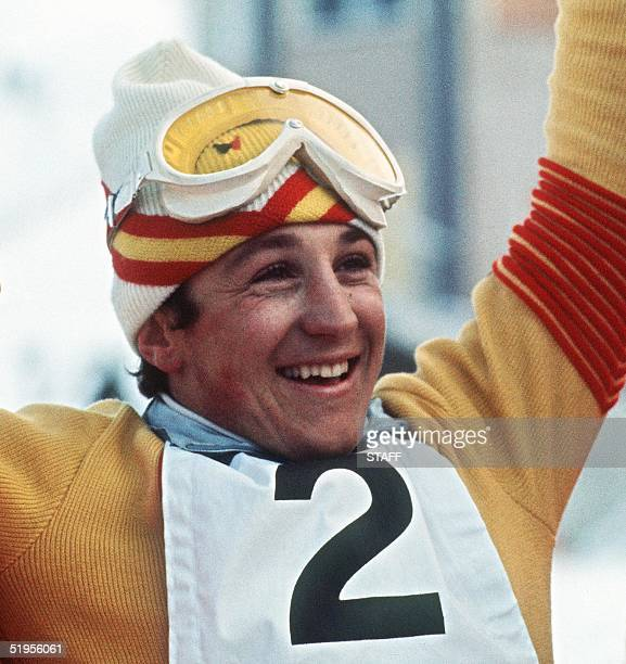 Spanish skier Francisco Fernandez Ochoa is all smiles after winning the men's slalom 13 February 1972 in Sapporo at the Winter Olympic Games...