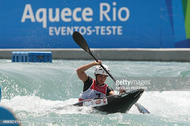 Spanish slalom canoeist Maialen Chourraut takes part in a test event for the Rio 2016 Olympic Games at the Deodoro Radical Park in Rio de Janeiro on...