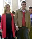 Spanish Socialist Party leader and candidate for the general elections Pedro Sanchez and his wife Begona Fernandez arrive to cast their vote at the...