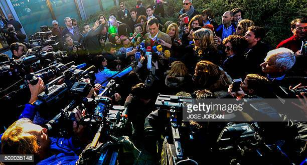 TOPSHOT Spanish Socialist Party leader and candidate for the general elections Pedro Sanchez speaks to the press after casting his vote at the...