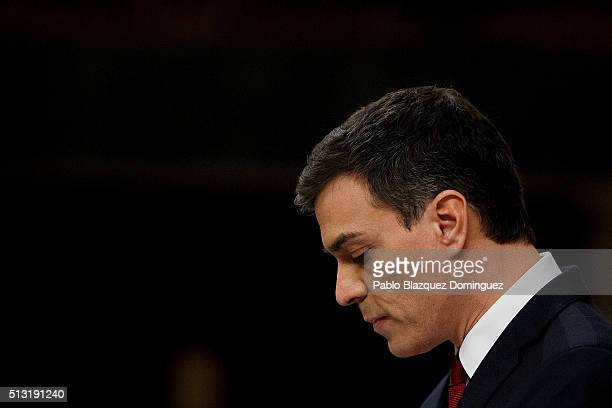 Spanish Socialist Party leader Pedro Sanchez looks down as he speaks during a debate to form a new government at the Spanish Parliament on March 1...