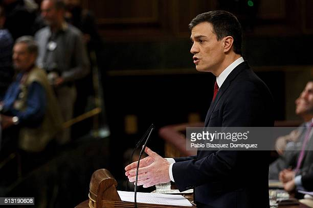 Spanish Socialist Party leader Pedro Sanchez speaks during a debate to form a new government at the Spanish Parliament on March 1 2016 in Madrid...