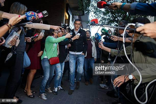 Spanish Socialist Party member Eduardo Madina arrives at the PSOE headquarters in Madrid to attend an extraordinary meeting of the Federal Committee...