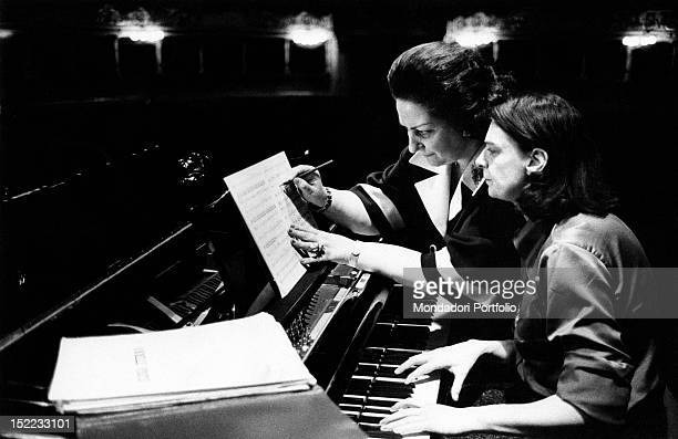 Spanish soprano Montserrat Caballé rehearsing at La Scala Milan January 1975