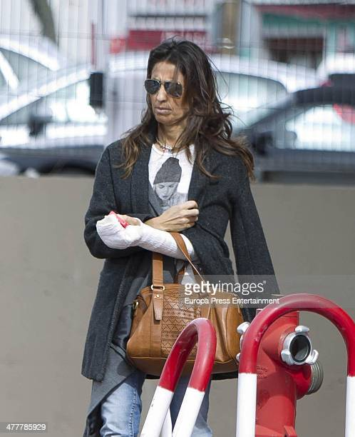 Spanish sport journalist Paco Gonzalez's wife Mayte is seen at hospital on February 28 2014 in Madrid Spain Mayte was injured on February 5th in an...