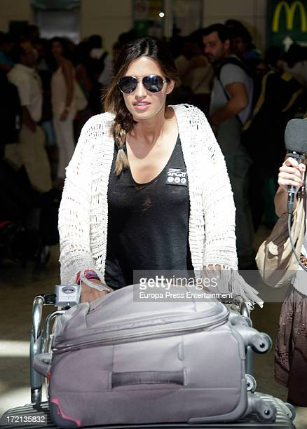 Spanish sport journalist Sara Carbonero also girlfriend of Iker Casillas is seen arriving from Brazil after covering Confederations Cup tournament on...