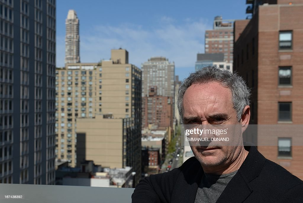 Spanish star chef Ferran Adria, of the award-winning restaurant elBulli, poses for a photo at Sotheby's Auction House, in New York, April 25, 2013. Adria decided to permanently close his restaurant and put the entire content of elBulli's wine cellar for auction, which is scheduled for April 26, 2013 at Sotheby's. The proceeds will be used to sponsor his elBulli Foundation, aimed at preserving and celebrating the restaurant's accomplishments, while keeping it as a center for gastronomic innovation. This new endeavour would allow him and his team the freedom to continue nurturing the creative drive that had defined elBulli, but without the restrictive timetable and demands of a restaurant. AFP PHOTO/Emmanuel Dunand