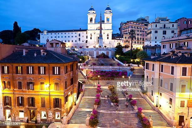 Spanish Steps at Piazza di Spagna and Trinita dei Monti Church.