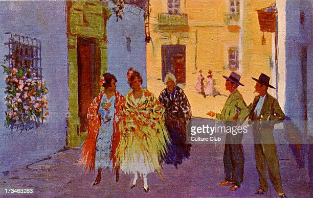 Spanish street scene Men in the street making flirtatious comments to passing women Illustration by Mariano Bertuchi Spanish artist 6 February 1884...