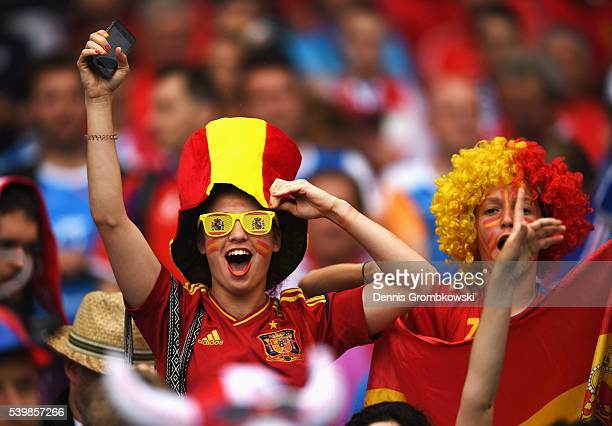 Spanish supporter looks on prior to the UEFA EURO 2016 Group D match between Spain and Czech Republic at Stadium Municipal on June 13 2016 in...