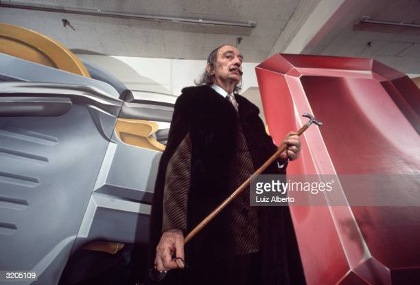 Spanish surrealist Salvador Dali with his cane in New York