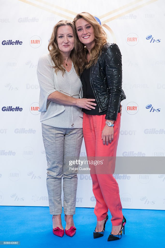 Spanish swimmer <a gi-track='captionPersonalityLinkClicked' href=/galleries/search?phrase=Mireia+Belmonte&family=editorial&specificpeople=5120453 ng-click='$event.stopPropagation()'>Mireia Belmonte</a> (R) and her mother Paqui Garcia (L) present P&G project for Olympic Games at Villa Magna hotel on February 10, 2016 in Madrid, Spain.