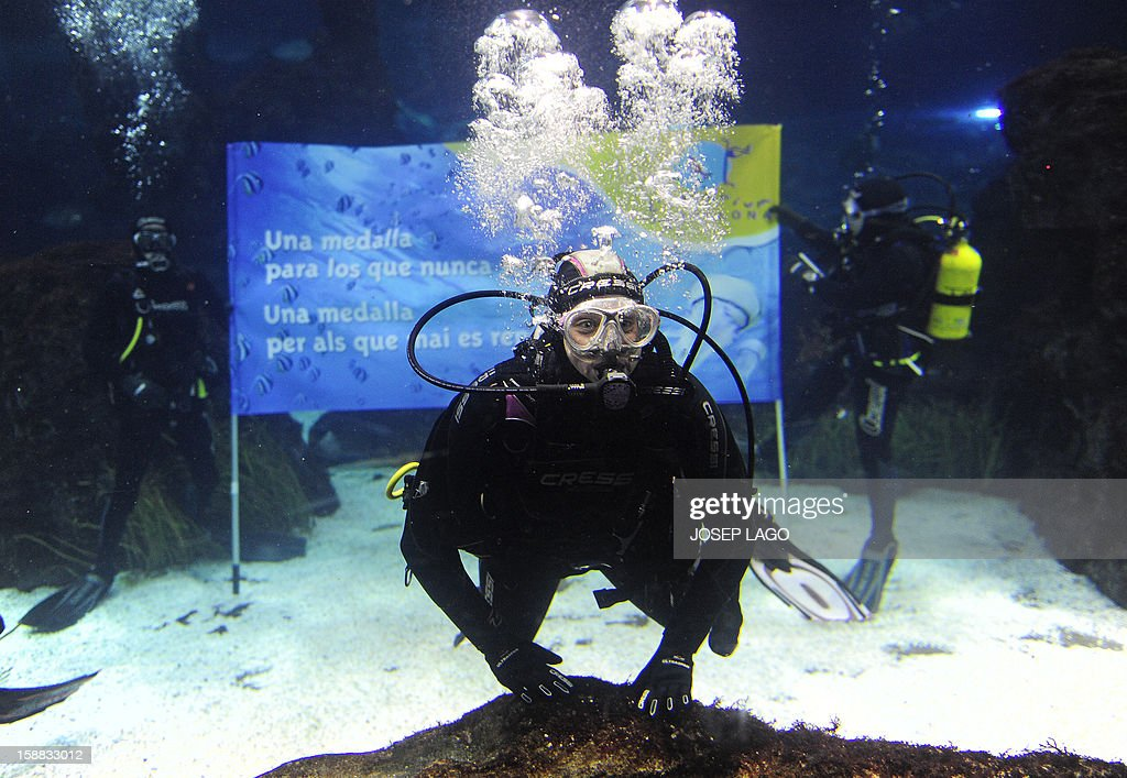 Spanish swimmer Mireia Belmonte Garcia poses as she dives with sharks to wish a Merry Christmas and a happy new year 2013 at the Aquarium of Barcelona on December 31, 2012.