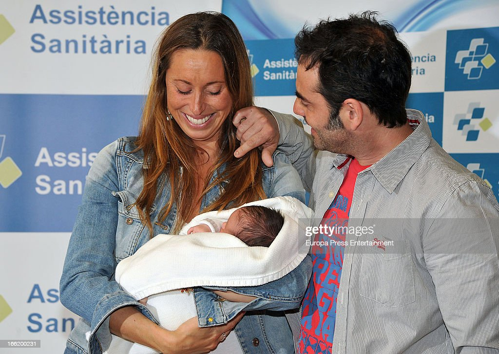 Spanish synchronized swimmer <a gi-track='captionPersonalityLinkClicked' href=/galleries/search?phrase=Gemma+Mengual&family=editorial&specificpeople=796507 ng-click='$event.stopPropagation()'>Gemma Mengual</a> and her husband Enric Martin present their newborn child Joe on April 9, 2013 in Barcelona, Spain.