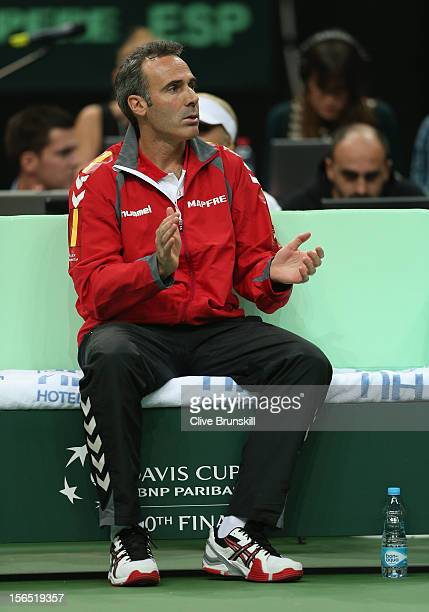 Spanish team captain Alex Corretja during day one of the final Davis Cup match between Czech Republic and Spain at the 02 Arena on November 16 2012...