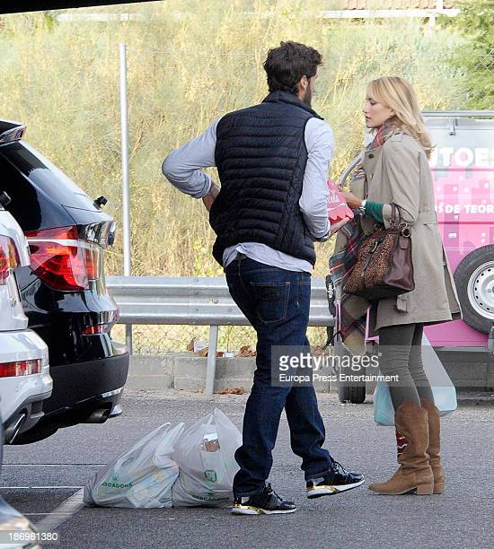 Spanish tennis player Feliciano Lopez and his girlfriend Spanish model Alba Carrillo are seen on October 15 2013 in Madrid Spain