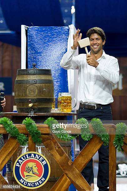 Spanish tennis player Fernando Verdasco attends Paulaner Oktoberfest party at Barclaycard Center on September 17 2014 in Madrid Spain