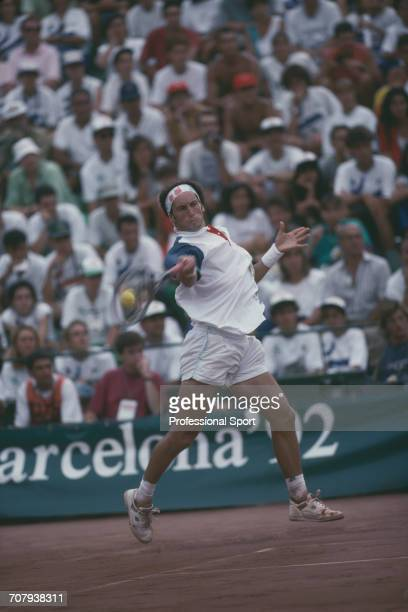 Spanish tennis player Jordi Arrese pictured in action during competition to finish in second place to win the silver medal in the Men's singles...