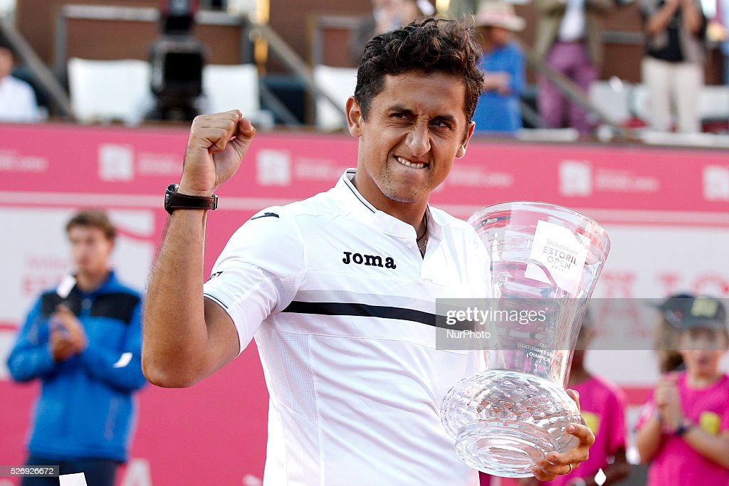 Spanish tennis player Nicolas Almagro holds his trophy during an award ceremony after winning the Portugal Open tennis tournament in Estoril, near Lisbon. Estoril on May 1, 2016.