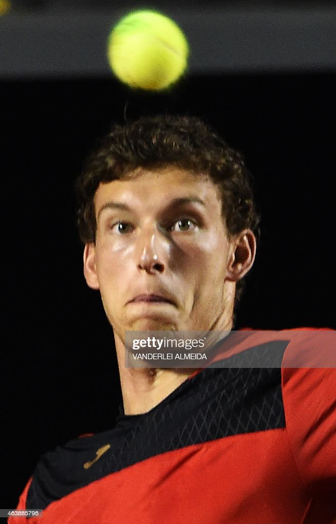 Spanish tennis player Pablo Carreno Busta eyes the ball during his ATP Rio Open tournament game against also Spanish Rafael Nadalin Rio de Janeiro, Brazil on February 19, 2015.