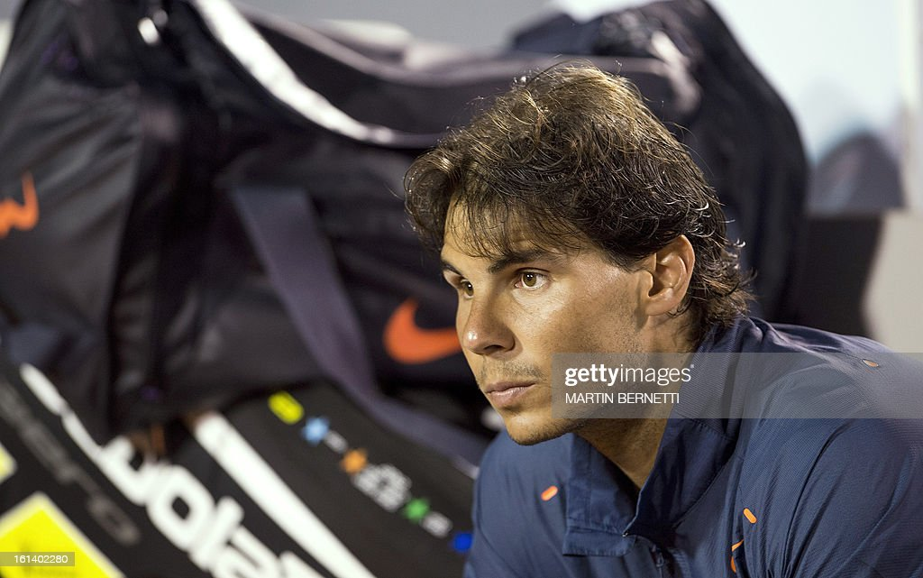 Spanish tennis player Rafael Nadal reacts after losing his ATP Vina del Mar tournament final singles match against Argentine Horacio Zeballos in Vina del Mar, about 120 km northwest of Santiago, on February 10, 2013. AFP PHOTO/MARTIN BERNETTI