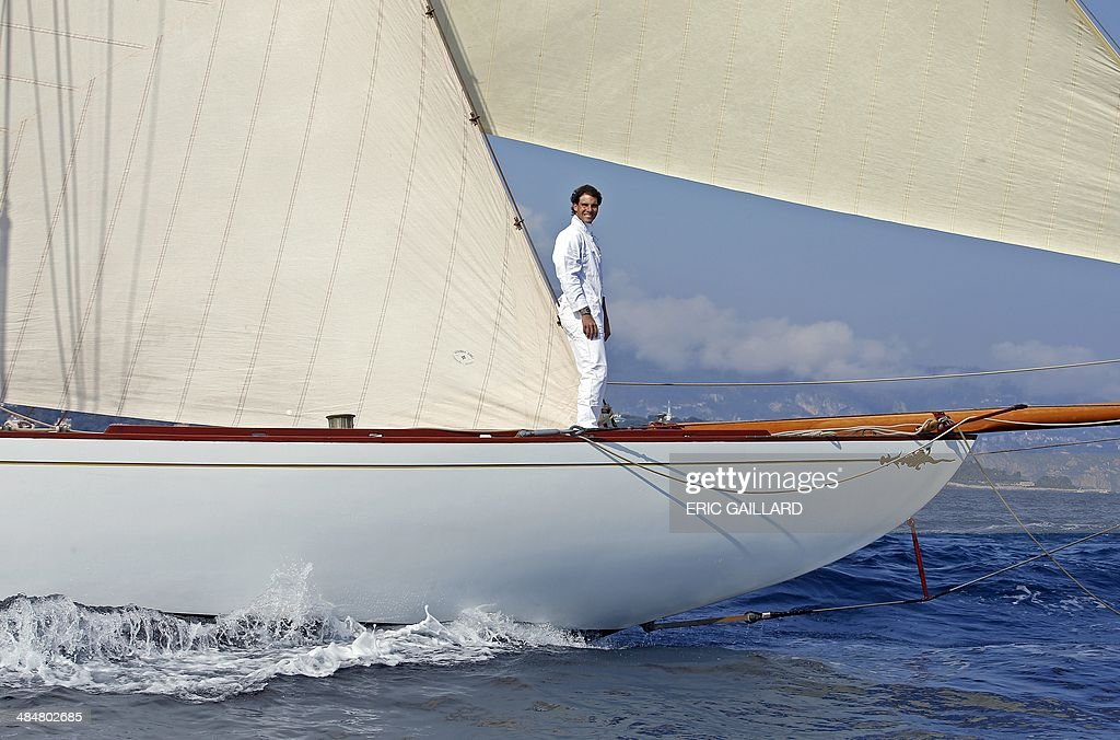 Spanish tennis player Rafael Nadal sails on a Tuiga yacht during the Monte Carlo ATP Masters tennis tournament in Monaco on April 14, 2014.