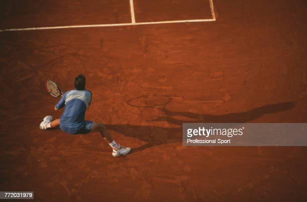 Spanish tennis player Tommy Robredo pictured in action during competition to reach the quarterfinals of the Men's Singles tournament at the 2003...
