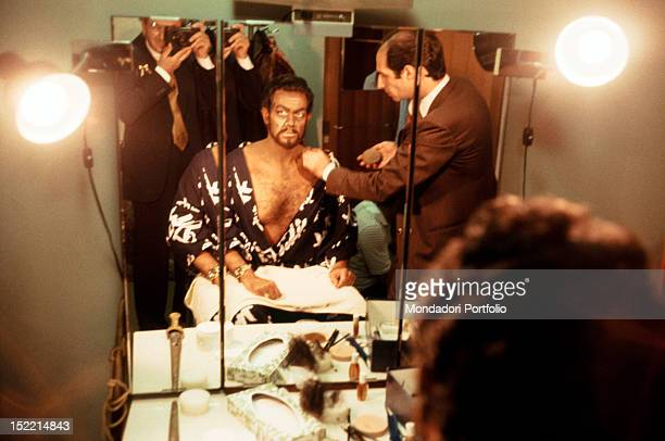 Spanish tenor and conductor Placido Domingo at the make up for 'Othello' Italian photographer Giorgio Lotti takes a picture of him Tokyo September...