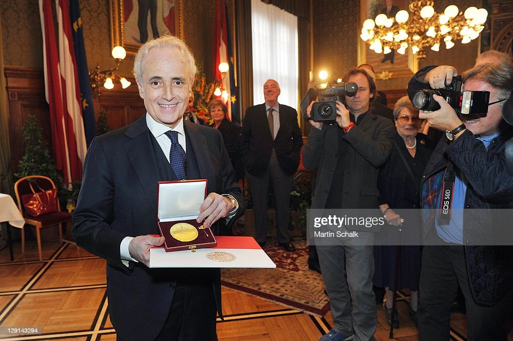 Spanish tenor Jose Carreras receives Golden Honorary Medal of Vienna on October 13, 2011 in Vienna, Austria.
